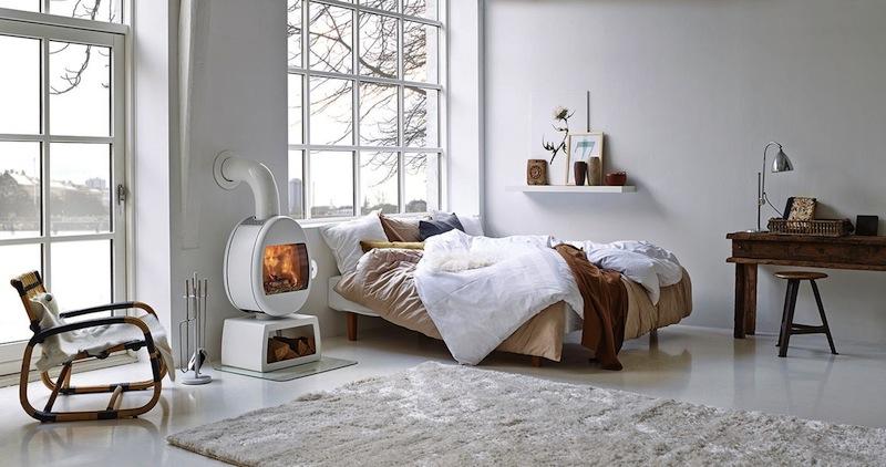 Poële à bois dans une chambre